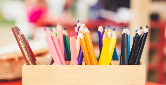 Pot of colouring pencils