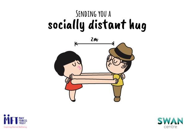 Socially distant hug postcard