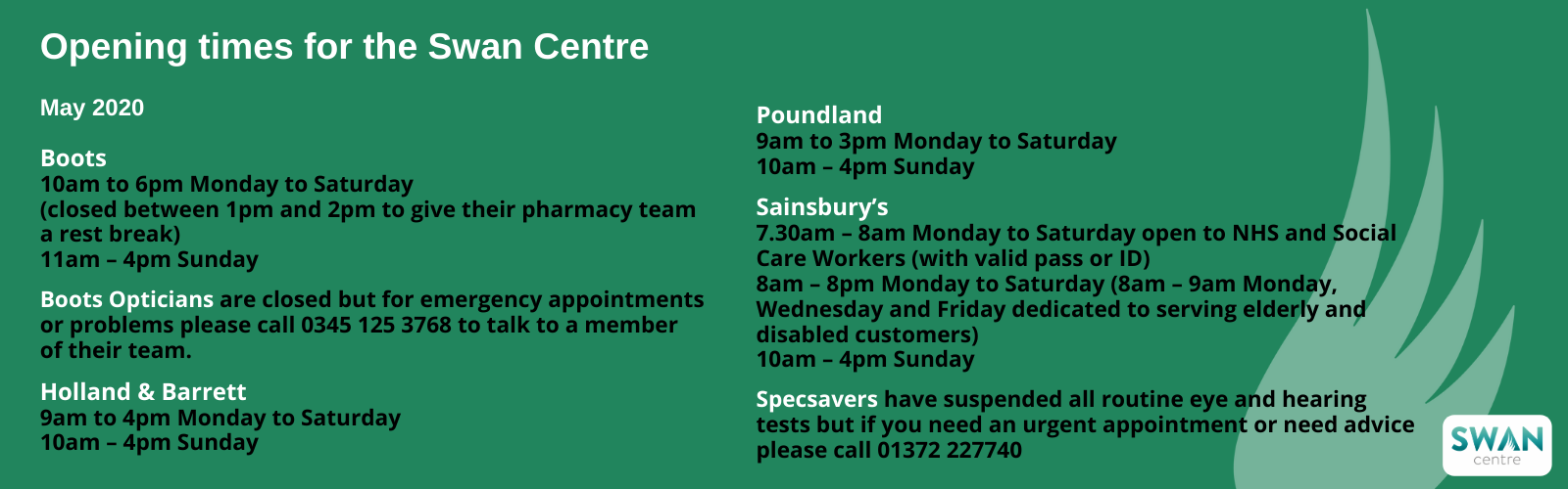 Swan Centre opening hours